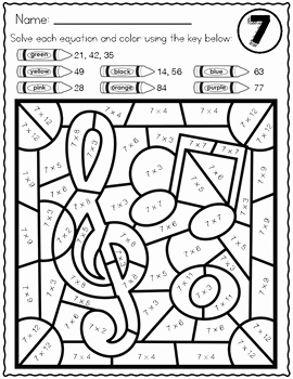 Multiplication Color by Number and Music themed Multiplication Color by Number