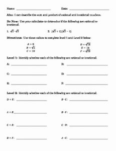 Rational and Irrational Numbers Worksheet then Sum and Product Of Rational and Irrational Numbers by