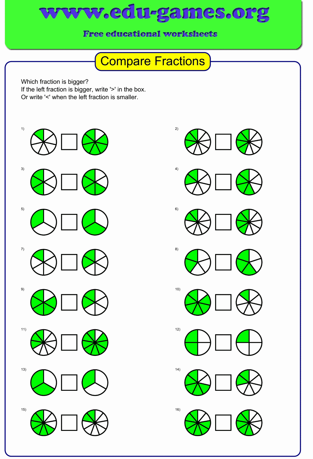Free Printable Fraction Worksheets then Pare Graphical Fractions Worksheet