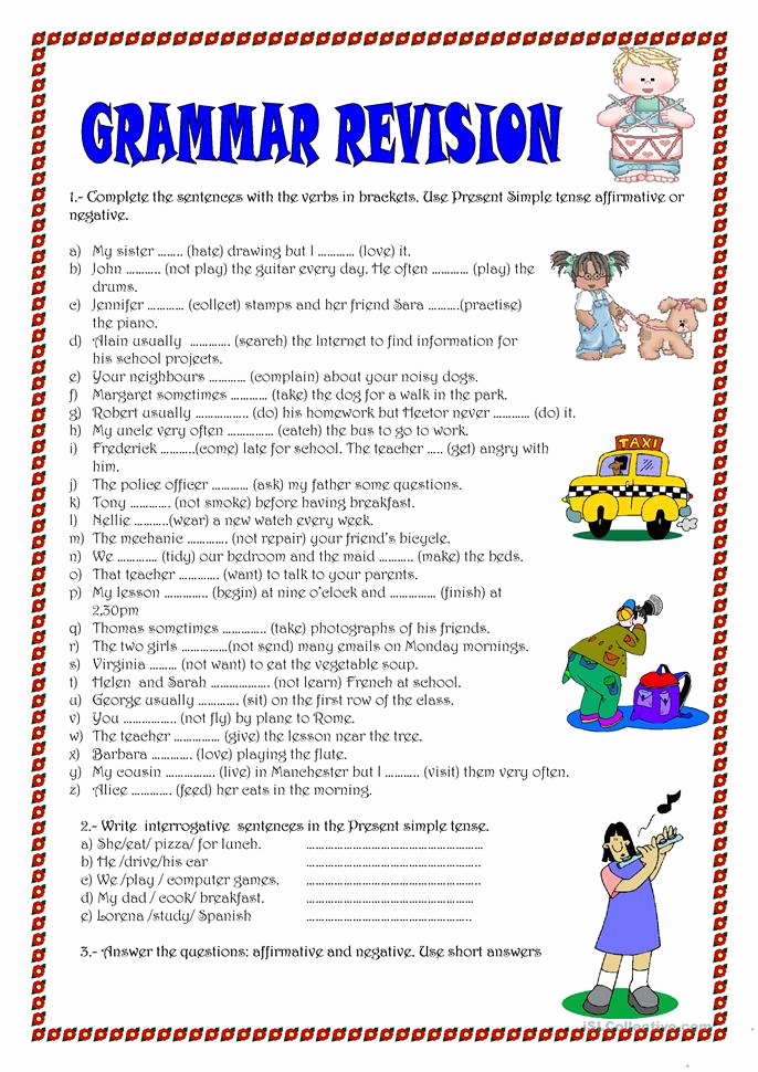 Free Printable Grammar Worksheets then Grammar Revision Worksheet Free Esl Printable Worksheets Made by Teachers