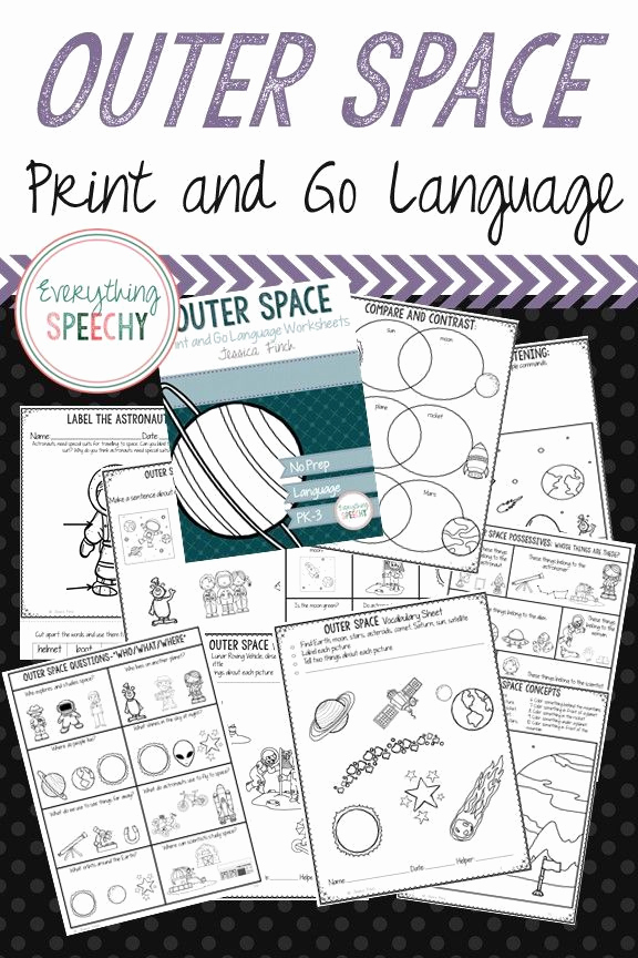 Outer Space Worksheets Printable 002 or No Prep Print and Go Language Worksheets Outer Space