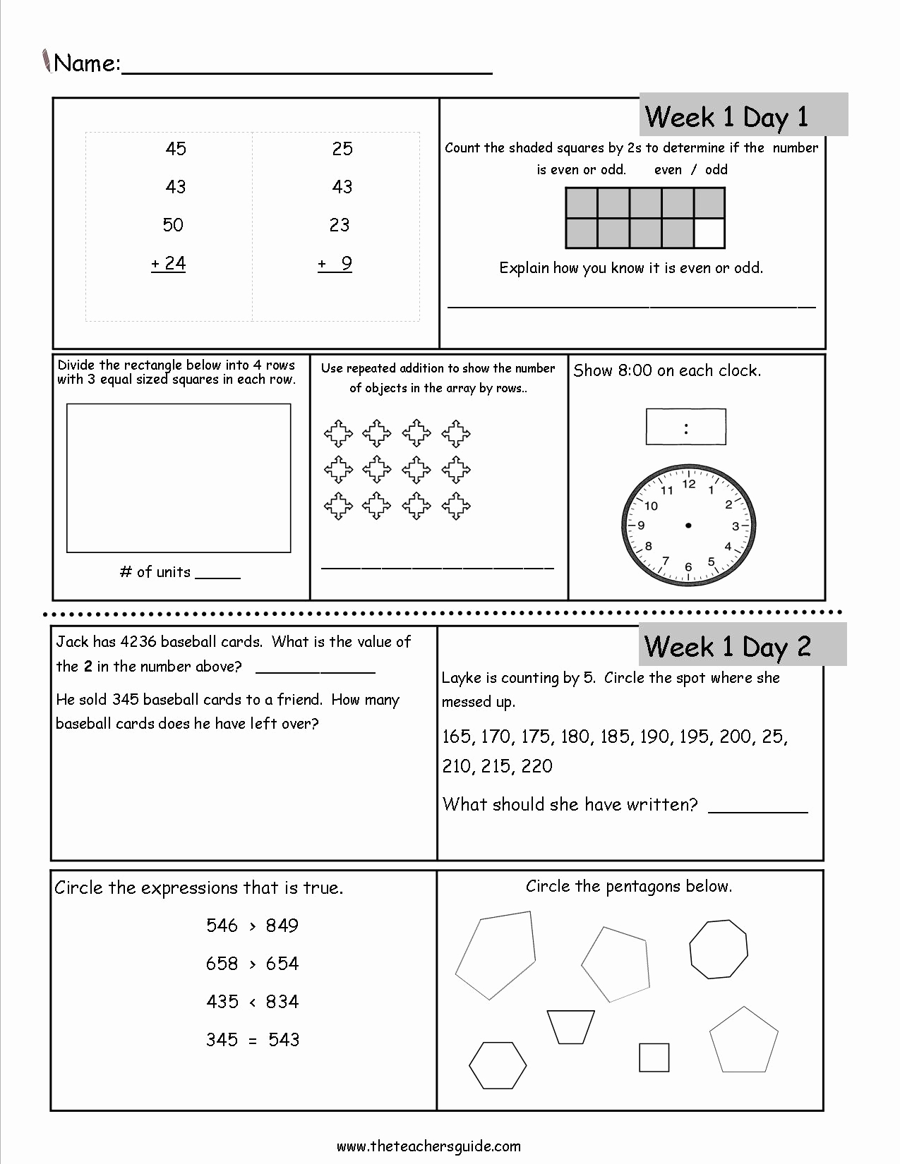 3rd Grade Worksheets Printable Of Free 3rd Grade Daily Math Worksheets