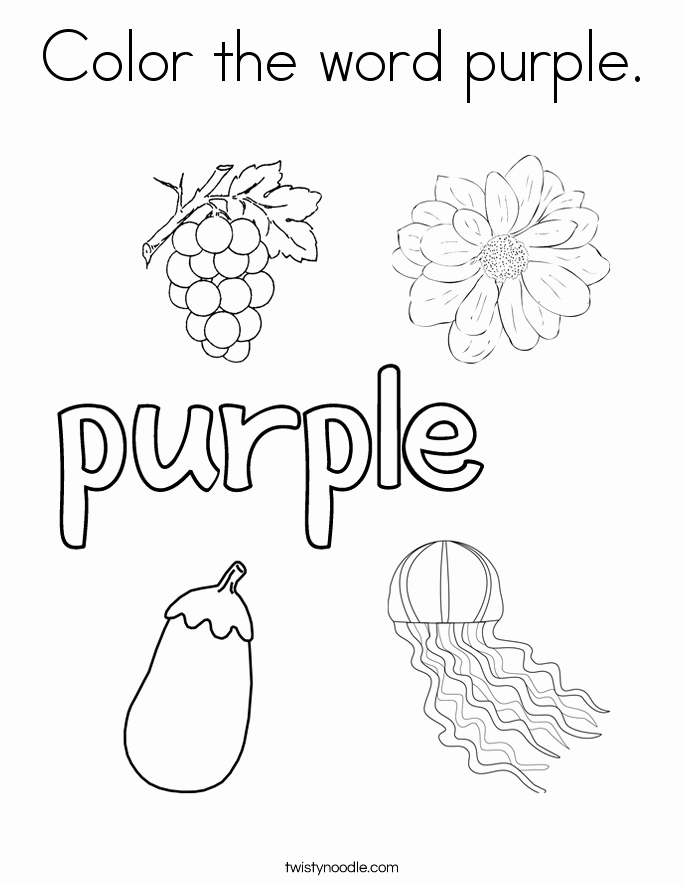 Color Purple Worksheet Preschool Printable and Color the Word Purple Coloring Page Twisty Noodle