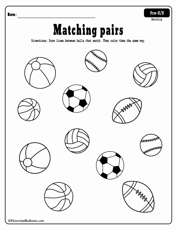 Educational Activities for 3 Year Olds Printable and Matching Worksheets for Preschool and Kindergarten Free Printable