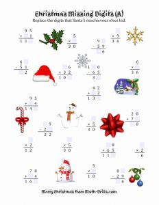 Free Printable Maths Worksheets Ks2 Missing and Christmas Missing Digits A