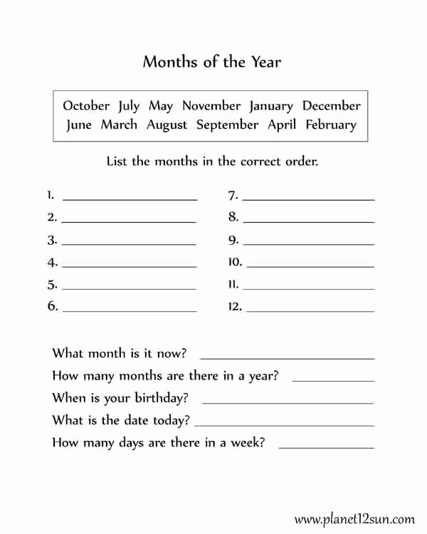 Months Worksheets Printable or Months Of the Year 1st Grade Genius777 Printables