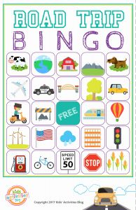 Printable Games for Kids Of Road Trip Bingo Printable Game Kids Activities