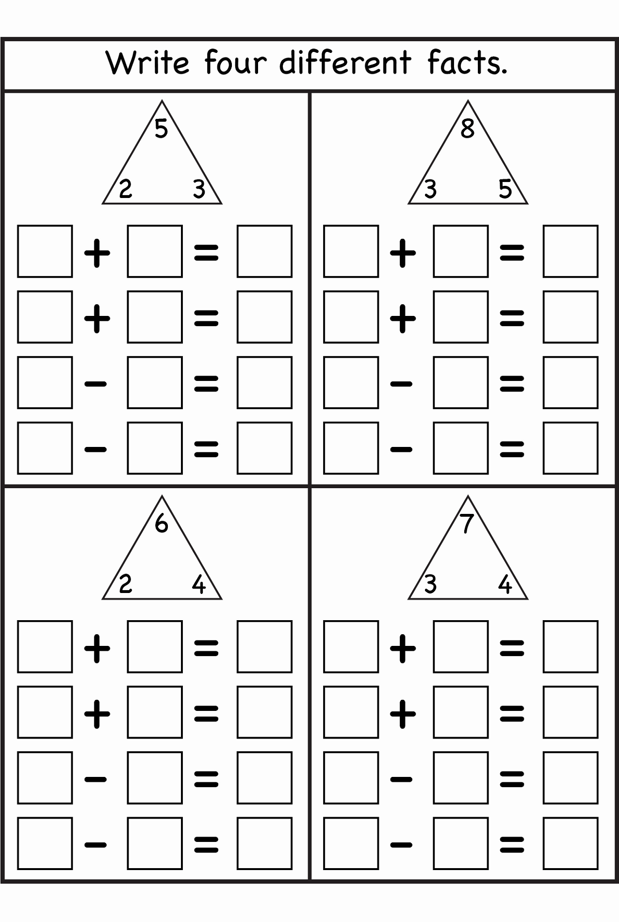 Printable Homeschool Worksheets Picture Of Blank Fact Family Worksheets