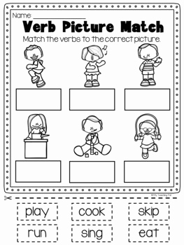 Printable Worksheets for Kindergarten Activities 2 then Verbs Printable Worksheet Pack Kindergarten First Second Grade