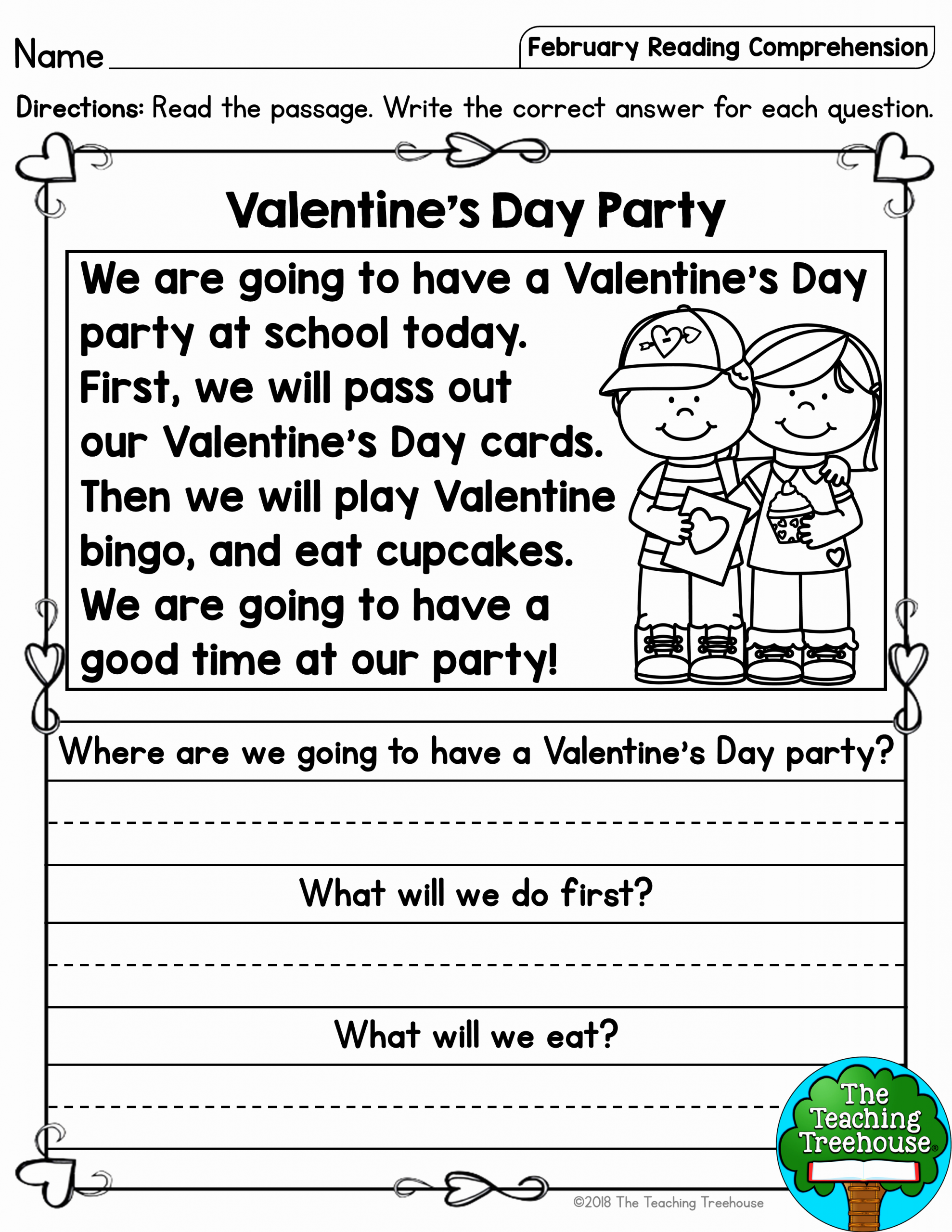 Reading Worksheets for Kindergarten First Grade and February Reading Prehension Passages for Kindergarten and First Grade