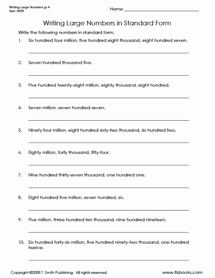 Writing Numbers In Standard form Worksheets then Writing Numbers In Standard form
