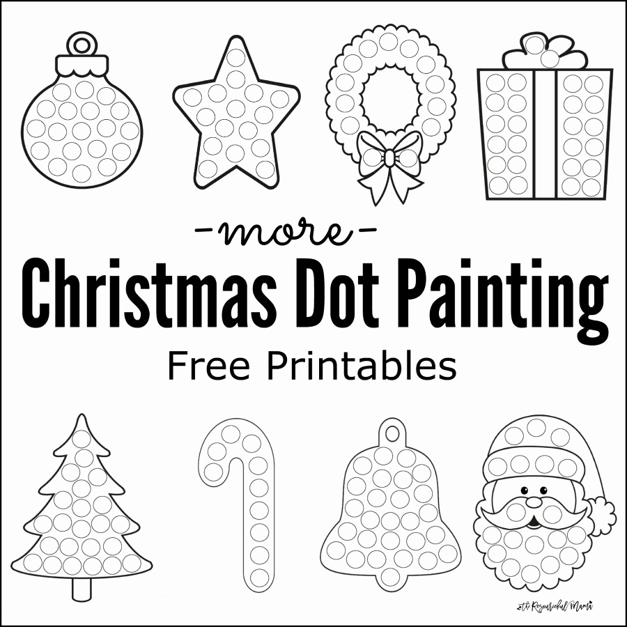Free Printable Christmas Worksheets or More Christmas Dot Painting Free Printables the