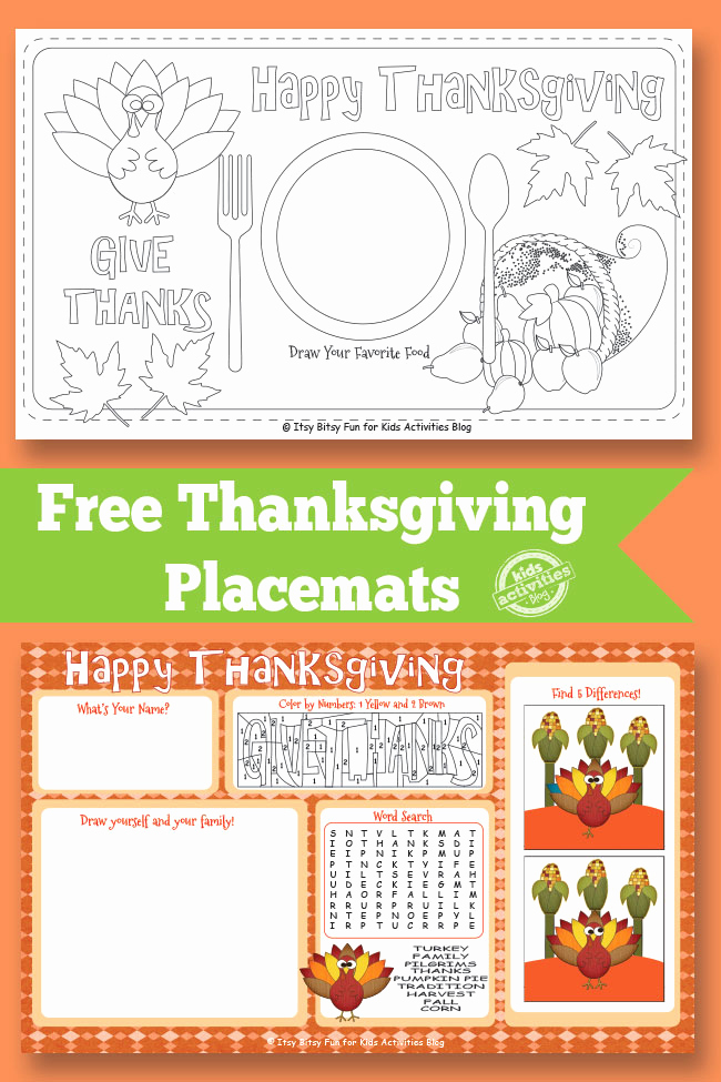 Kindergarten Worksheets Christmas Placemats then Free Thanksgiving Placemats