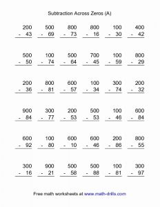 Free Printable Math Worksheets Subtraction then Subtraction Worksheet Subtraction Across Zeros 36