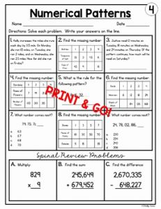 Number Pattern Worksheets 5th Grade Pdf then 5th Grade Math Homework Numerical Patterns Worksheets by
