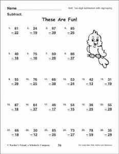 Fun Subtraction Worksheet Printable and these are Fun Two Digit Subtraction with Regrouping