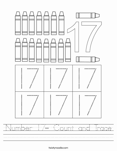 Printable Counting Worksheet Number 17 and Number 17 Count and Trace Worksheet Twisty Noodle