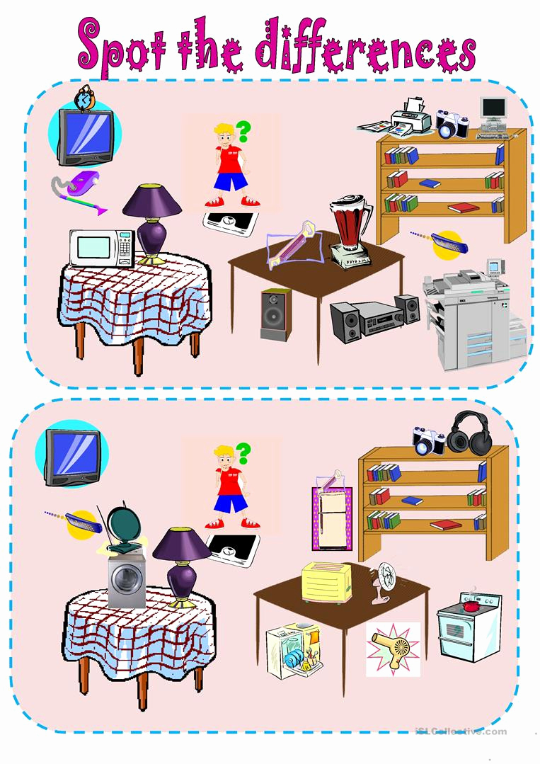 Spot the Difference Worksheets Printable Of Spot the Differences Simple Machines and Gadgets English Esl Worksheets for Distance Learning