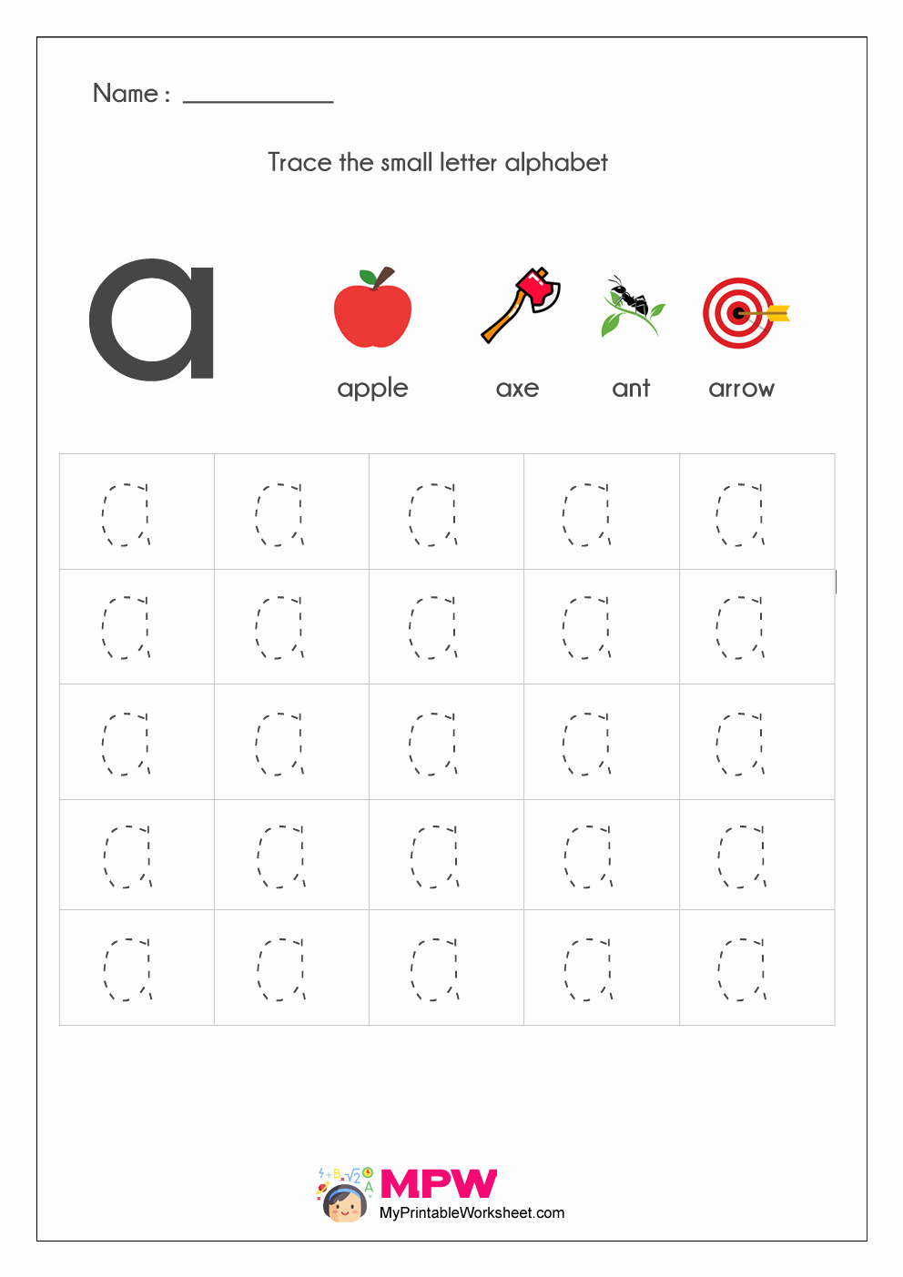 Letter A Printable Worksheets Of Small Letter Alphabets Tracing and Writing Worksheets Printable