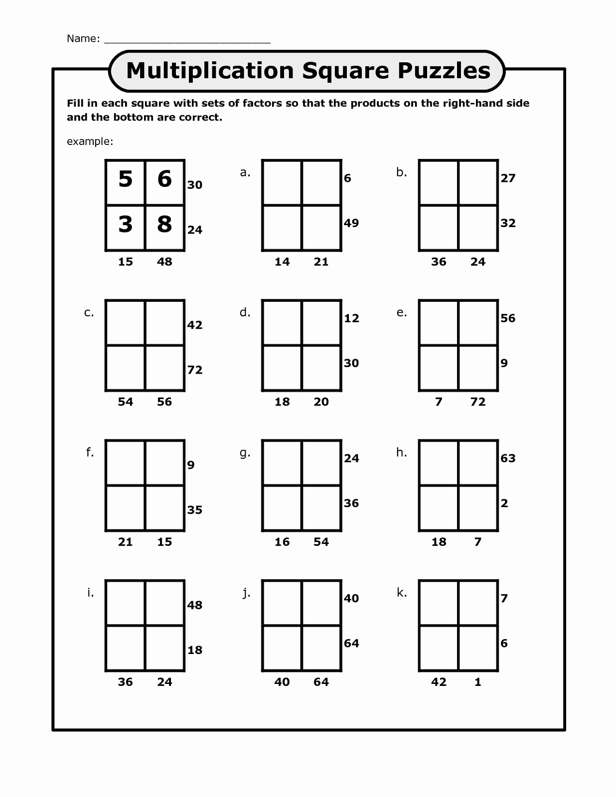 Printable Math Puzzles Of Math Puzzles Printable for Learning