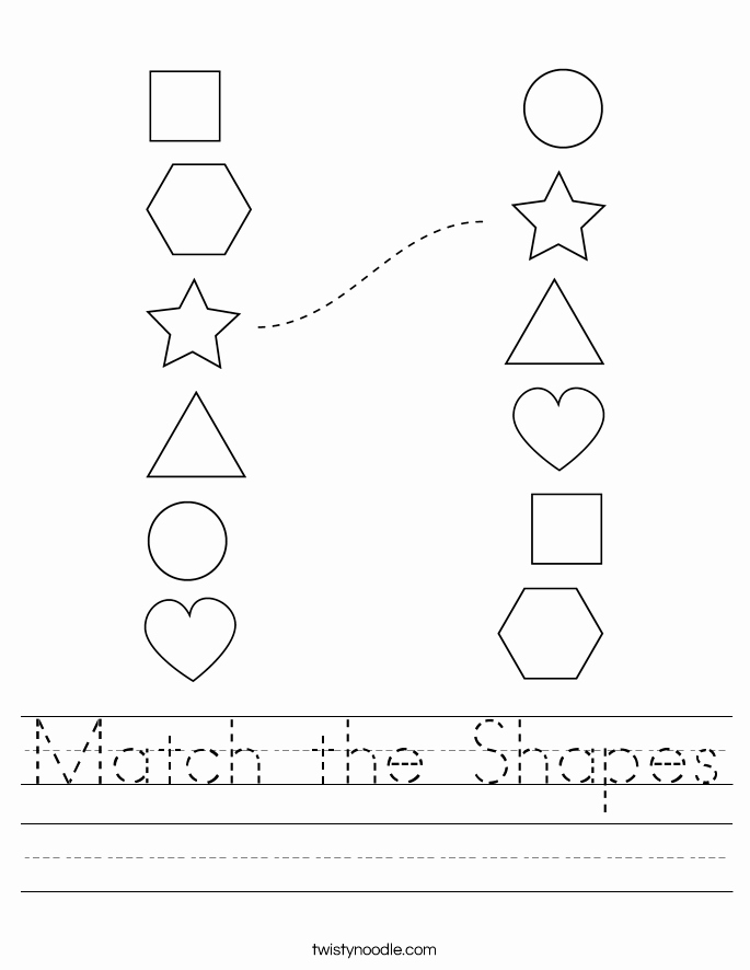Printable Shape Matching Worksheets Of Match the Shapes Worksheet Twisty Noodle