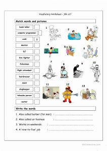 Printable Vocabulary Worksheet or Vocabulary Matching Worksheet Jobs 2 Worksheet Free Esl Printable Worksheets Made by Teachers