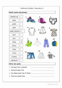 Printable Vocabulary Worksheet then Vocabulary Matching Worksheet Elementary 2 7 Clothes Worksheet Free Esl Printable