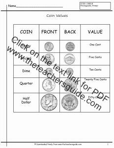 Printable Worksheets Identifying Coins Of Counting Coins Worksheets From the Teacher S Guide