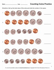 Printable Worksheets Identifying Coins then New 94 First Grade Math Worksheets Counting Coins
