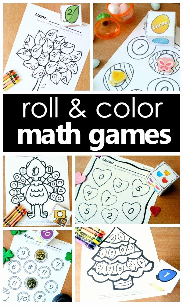 Roll and Color Worksheets Printable then Free Roll and Color Math Games
