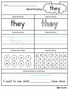 They Sight Word Worksheet Printable and High Frequency Word they Printable Worksheet