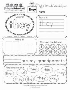They Sight Word Worksheet Printable Of Sight Word they Worksheet Free Kindergarten English Worksheet for Kids