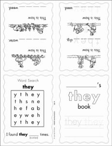 """They Sight Word Worksheet Printable or the Sight Word """"they"""" Level 1"""