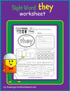 """They Sight Word Worksheet Printable then This is A Sight Word Worksheet for the Word """"they"""" Students…"""