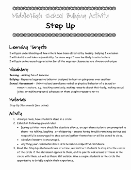 Bullying Worksheets for Middle School Of Middle & High School Bullying Activity Step Up by Counseling with Pizzazz