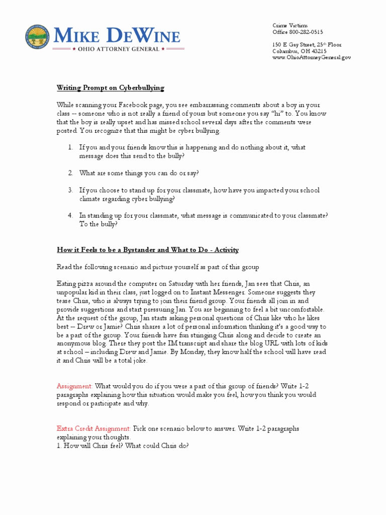 Cyber Bullying Worksheets for Middle School Of Activities for Middle School Students On Cyber Bullying and Ting Cyberbullying