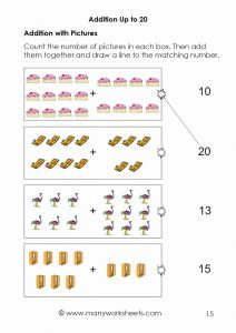 Easy Worksheets for Kindergarten Math for Free Of Kindergarten Addition with Sum Up to 20 Worksheets