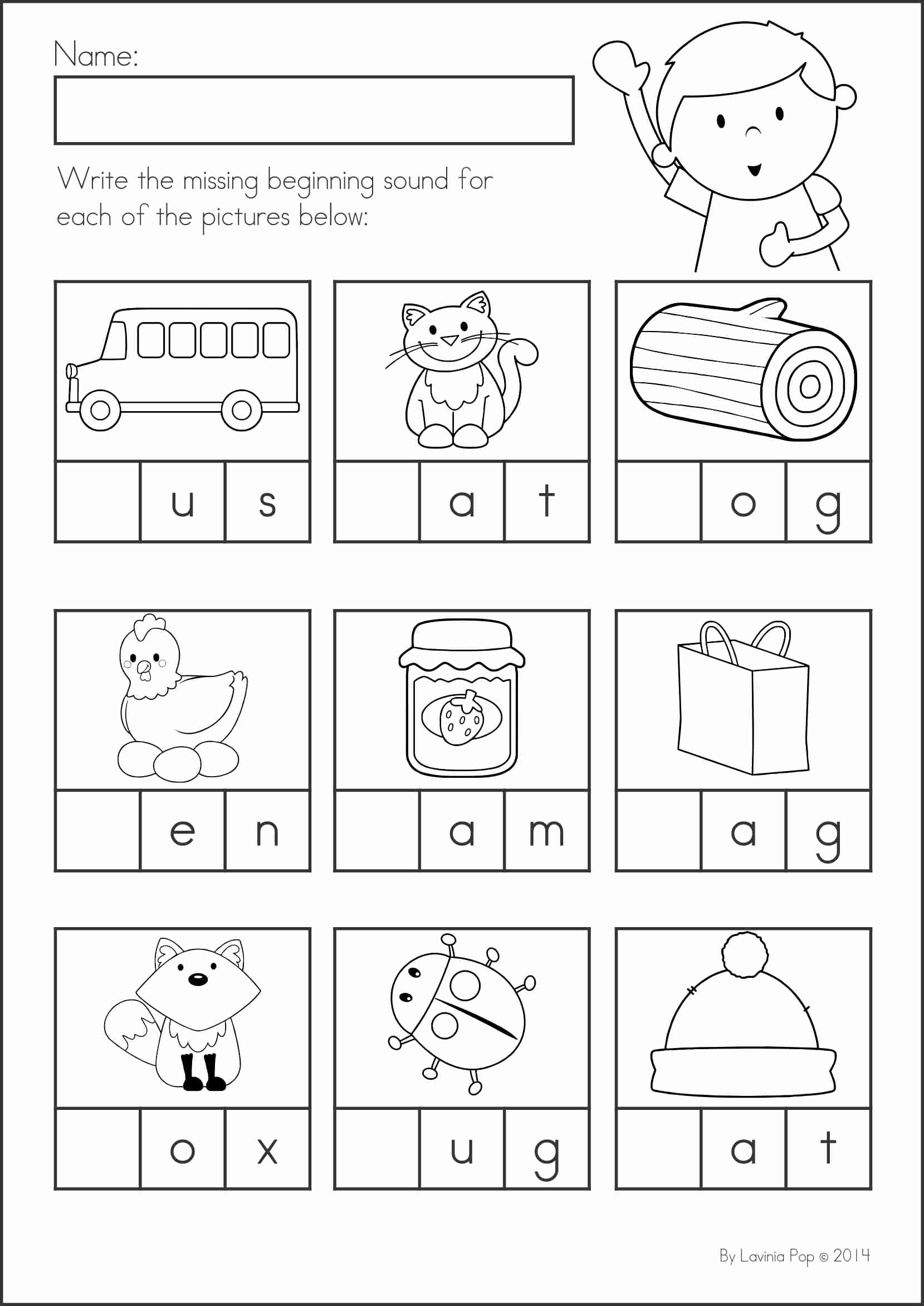 First sound Kindergarten Worksheets then Kindergarten Back to School Math & Literacy Worksheets and Activities 135 Pages A Page