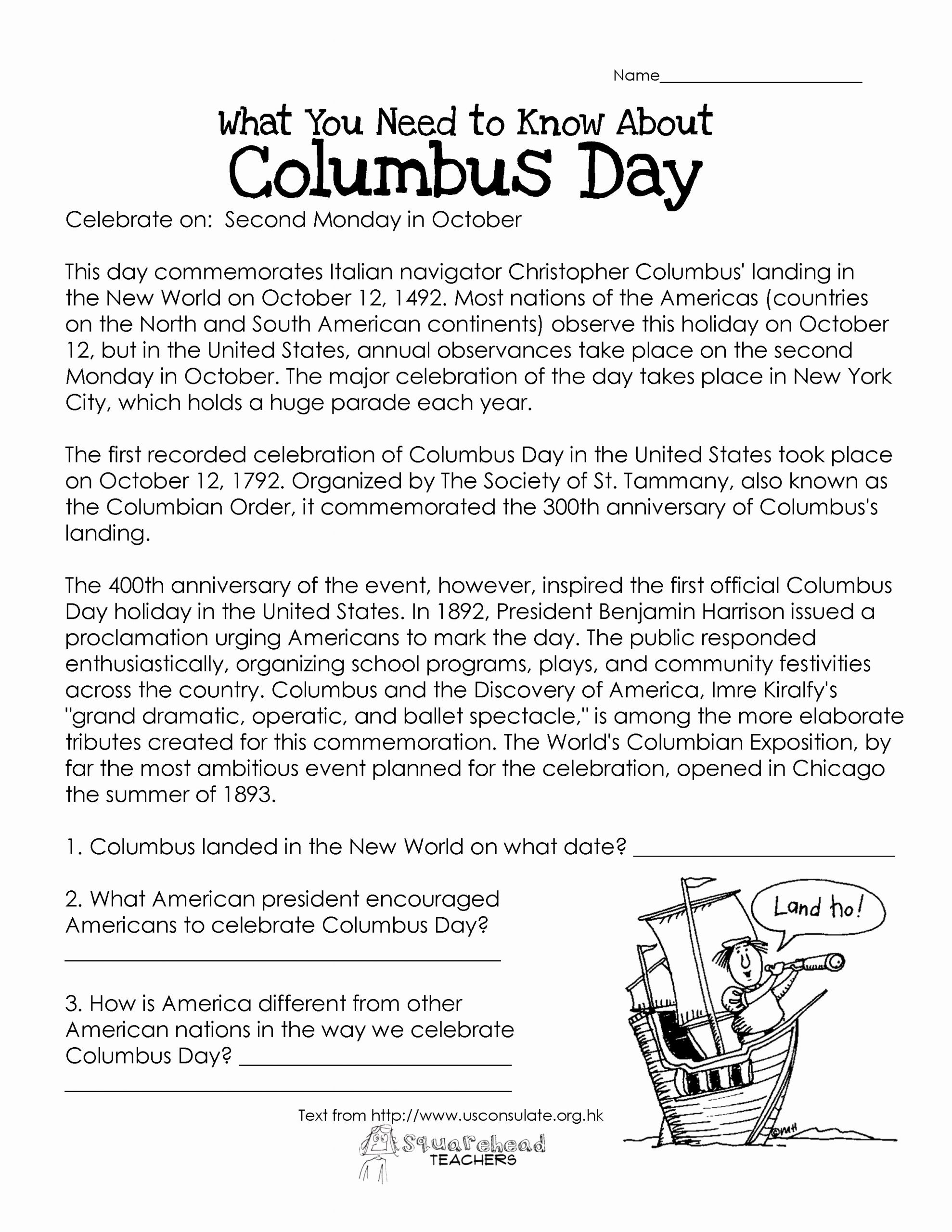 Free social Studies Worksheets for Middle School then Here S An Easy Free Prehension Worksheet About the History Of Col…