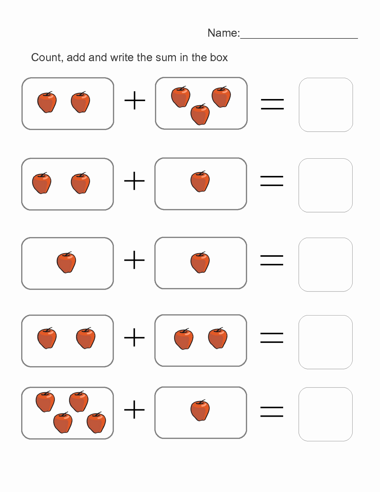 Kindergarten Math Sheets or Picture Math Worksheets to Print
