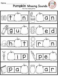 Kindergarten Missing sounds Worksheets Of October Math and Literacy Pack Freebies