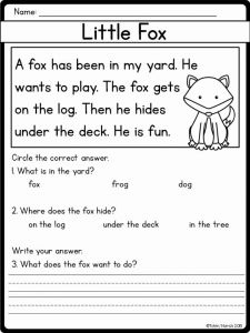 Kindergarten Reading Worksheets then Easy and Beginner Reading Prehension Passages and Questions