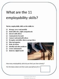 Life Skills Worksheets for Highschool Students then Employability Skills Activities and Worksheets for Life Skills In High School