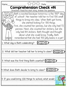 Reading Worksheets for Kindergarten First Grade 2 or Reading Prehension Checks for February 20 Worksheets with Simple Stories to Help with