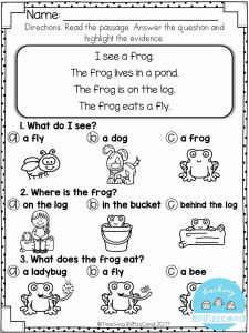 Reading Worksheets for Kindergarten First Grade 2 then Free Reading Prehension for Early Reader