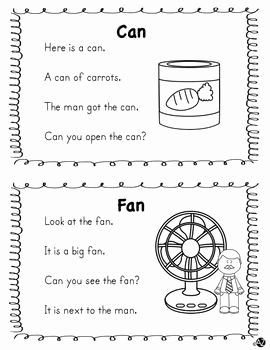 Reading Worksheets for Kindergarten Word Families 2 and Word Family Short A Fluency