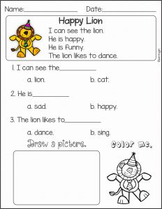 Reading Worksheets Kindergarten Of Reading Prehension and Sentence Building First Edition